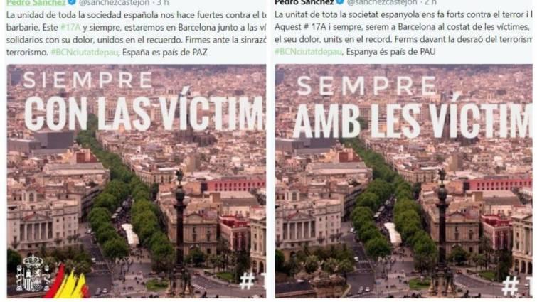 Actualidad Actualidad Sánchez borra el escudo y la bandera de España de su «tuit» en catalán y luego rectifica