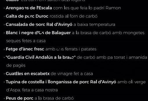 Actualidad Actualidad «Guardia civil andaluz a la brasa» y «manos de juez del TC», los insultantes platos de un restaurante de Lérida